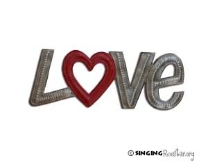 Love metal word art