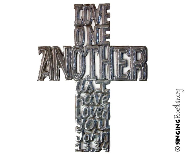 Love One another word art cross, Haiti