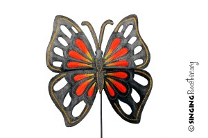 yellow orange butterfly garden stake, Haiti