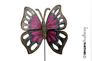 pink butterfly garden stake, Haiti