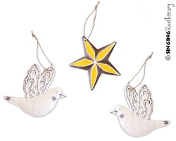 buy Haitian art Christmas ornaments, dove star