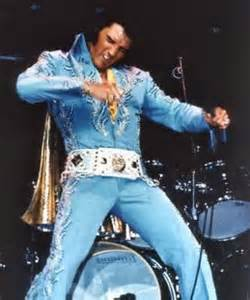 Elvis in his blue jumpsuit