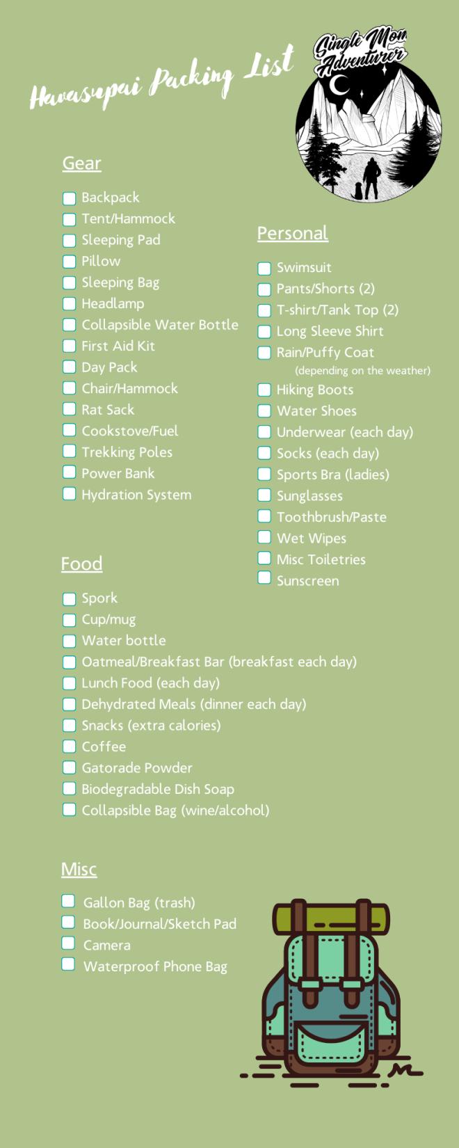 Havasupai Packing List