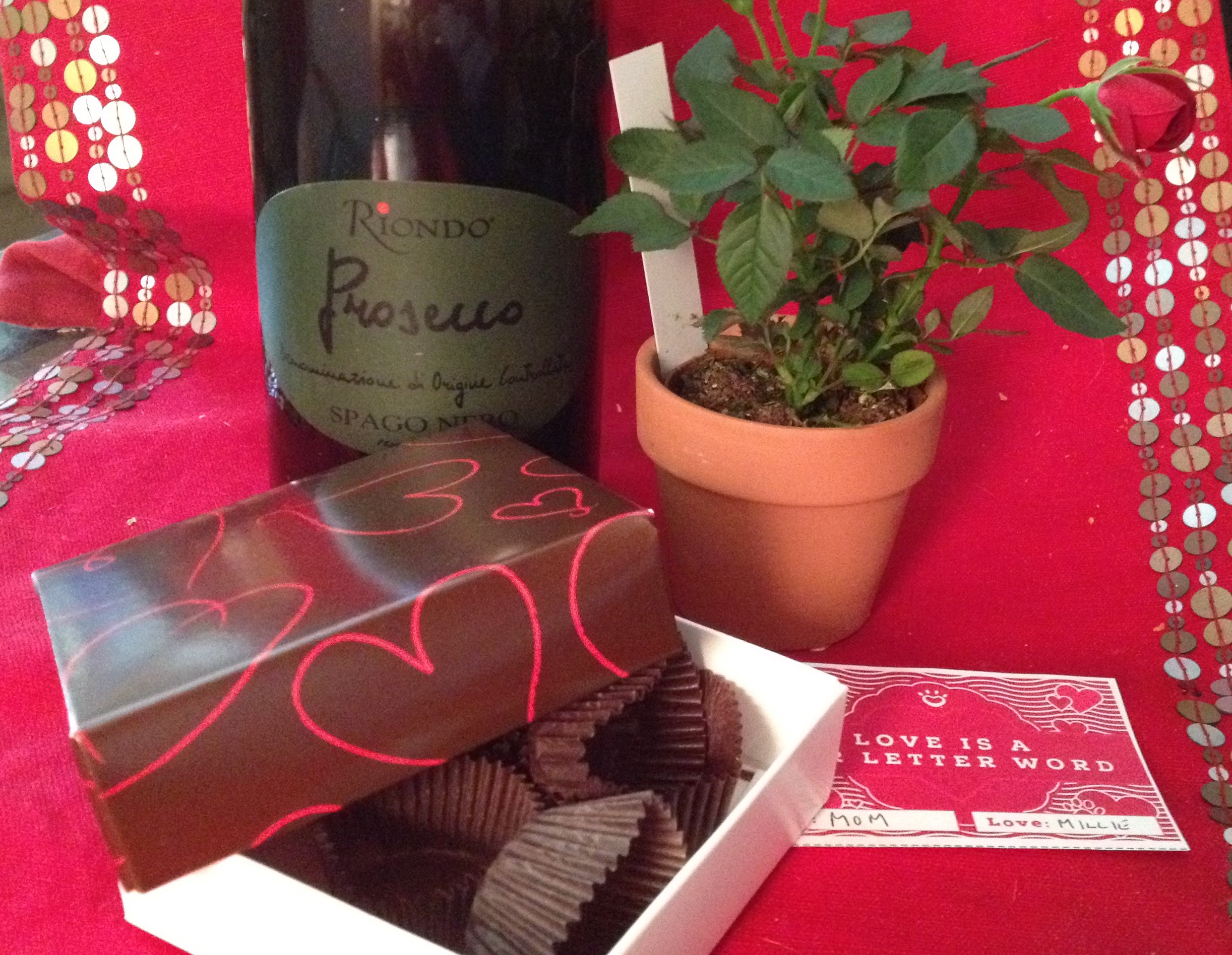 Candy, roses, wine for Valentine's