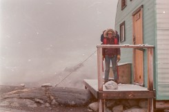 Standing on the scant doorstep on the classic Bow Hut.