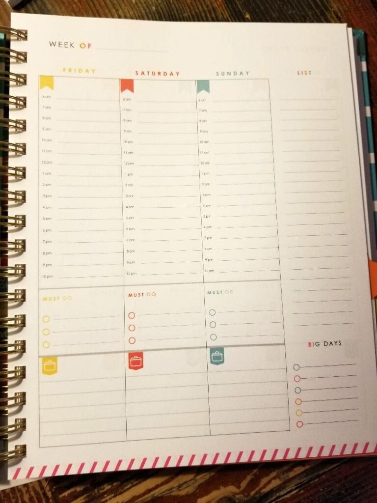 Living Well Planner Weekly Plans