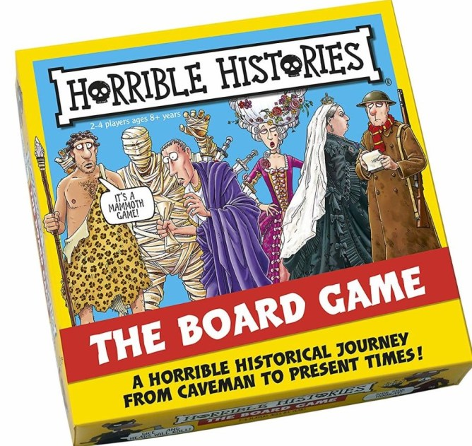 Cover of the Horrible Histories board game.