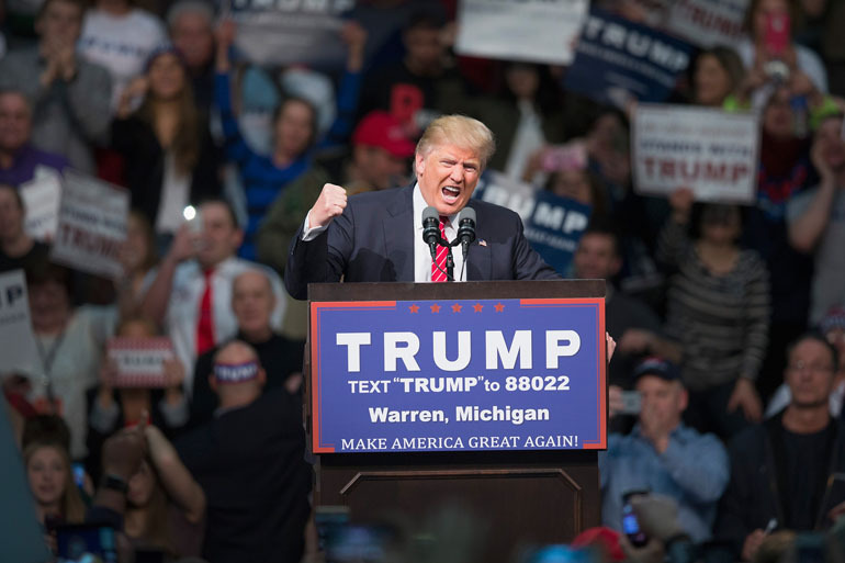 Donald Trump Holds Campaign Rally In Warren, Michigan