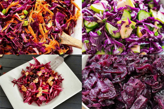 Red cabbage recipes. Easy, healthy, and colorful.