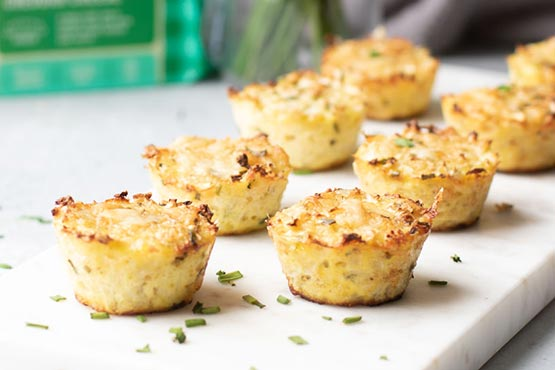 Cauliflower appetizers . Cheddar Chive Cauliflower Bites