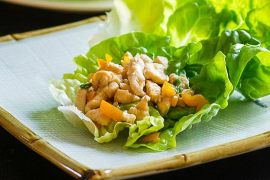 Recipes with ground chicken . Easy chicken lettuce cups