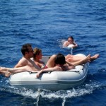 Relaxing in the dinghy