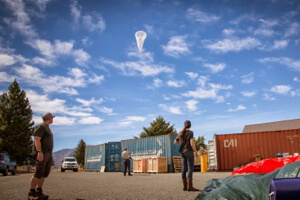 Googlers launch a Loon balloon.
