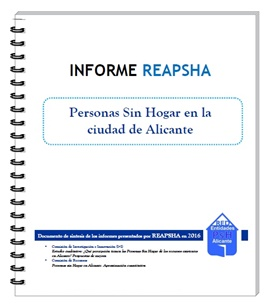"""Descargar Informe REAPSHA 2016: """"Personas sin hogar en la ciudad de Alicante. Síntesis Final"""""""