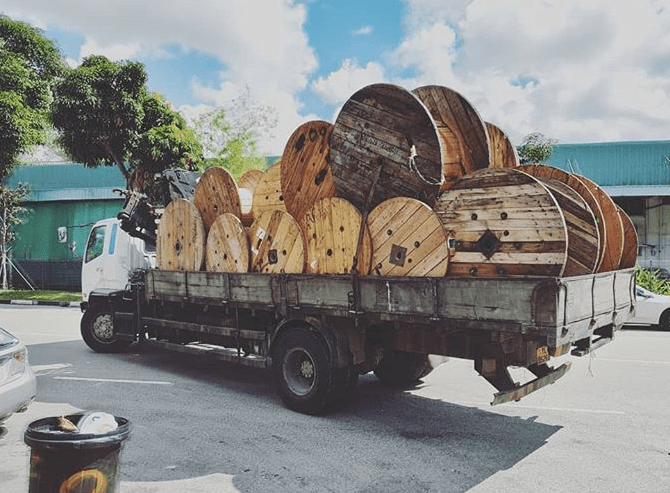 wooden cable reels