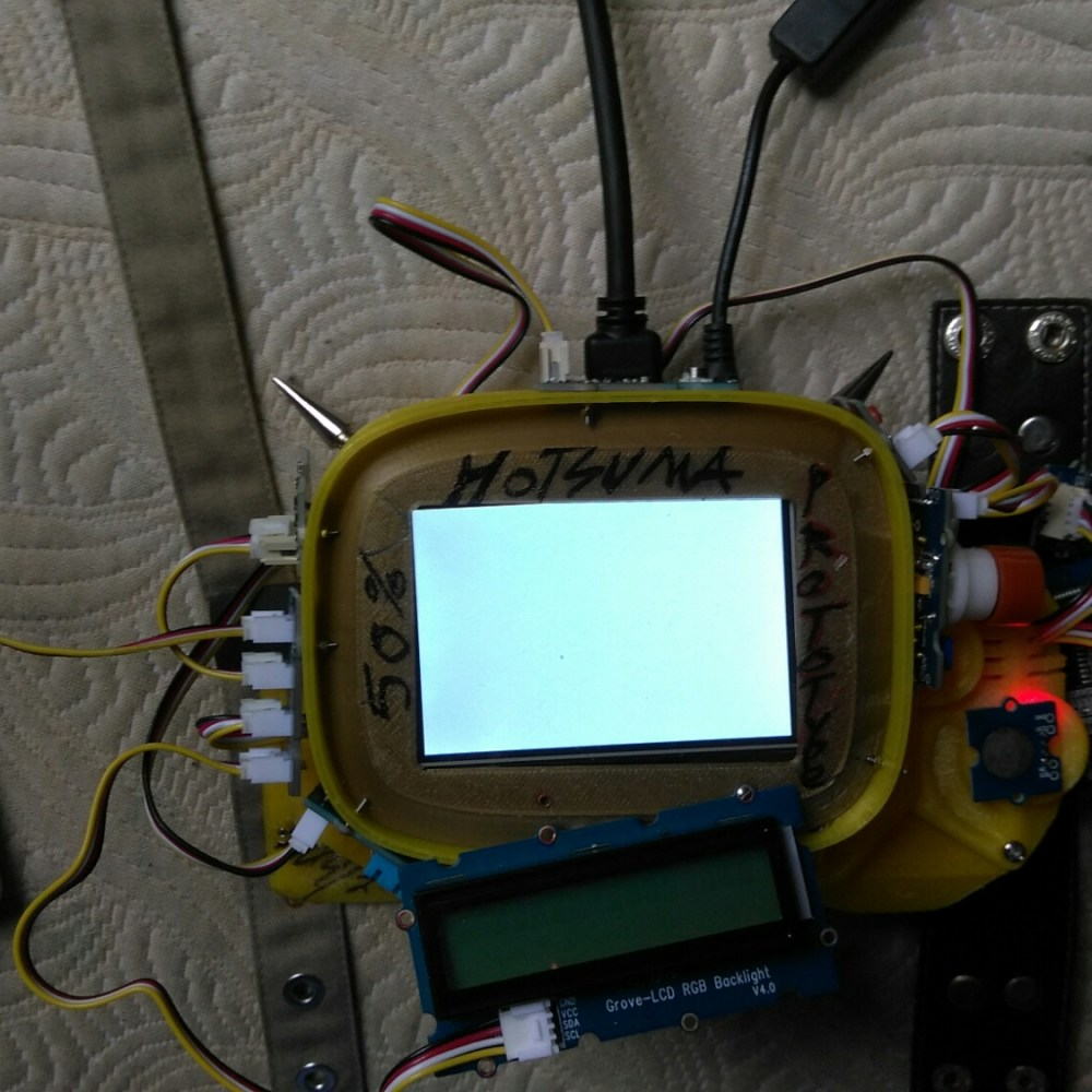 My halfway 3d printed Adafruit rendition of fallout 4's pipboy with Grove sensors attached for actual environmental readouts.