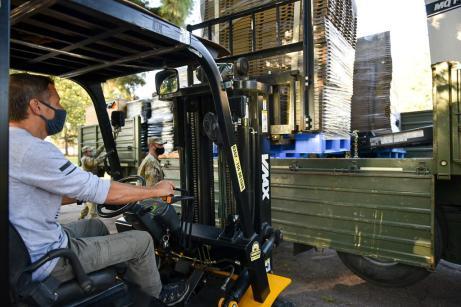 Llegaron los camiones que transportan el hospital de campaña