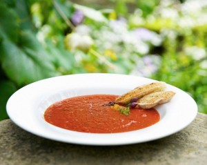 Bowl of tomato and basil soup