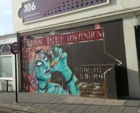 Brighton Tattoo Convention mural. The Hilton, Brighton.Text by REQ. Jan 2014.