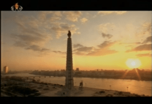 Morning Aurora at the Juche Tower in Pyongyang, December 2012 | Image: KCTV/KCNA