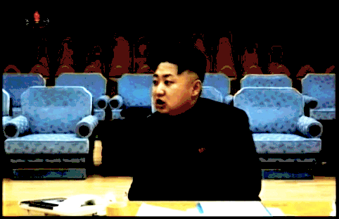 Kim Jong-un conspicuously unaccompanied in a meeting with North Korean rocketeers, December 2012 | Image via KCTV, edited by Adam Cathcart