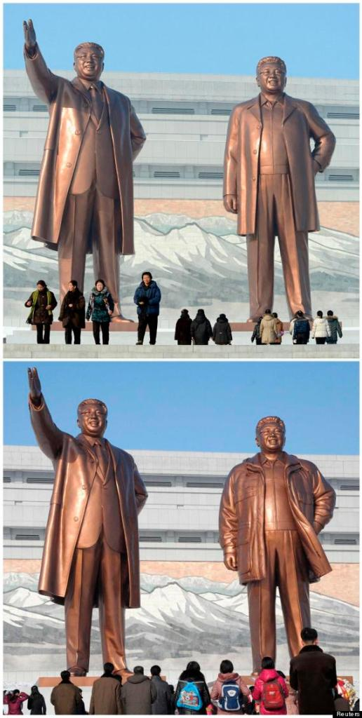 A combination photo shows bronze statues of North Korea founder Kim Il-sung (L) and late leader Kim Jong-il at Mansudae in Pyongyang, in these photos taken and provided by Kyodo on December 2012 (top) and February 10, 2013. Reuters/Kyodo, via Huffington Post.
