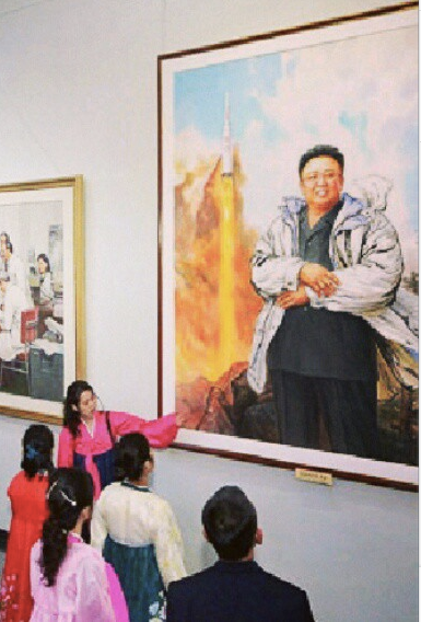 Kim Jong-il and the Unha-3, painting, Feb. 14 2013, via DPRK Instagram