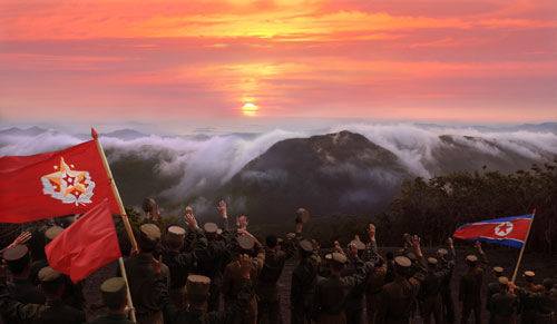 """Dawn is breaking over Mt. [D]aehwa in Ski Resort on Masik Pass."" | Image: Rodong Sinmun"