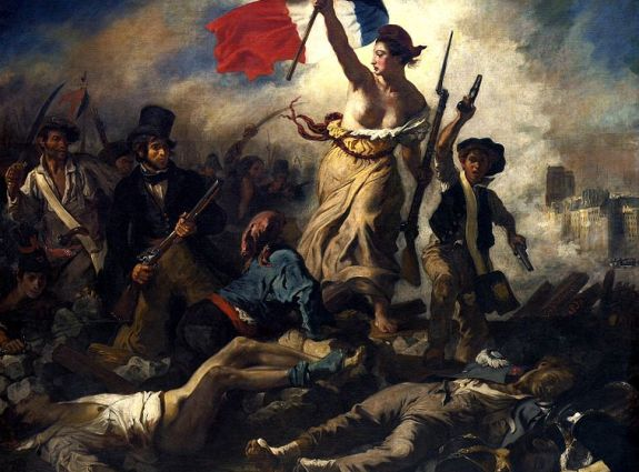"Eugène Delacroix's famous ""La Liberté Guidant le Peuple,"" a artistic manifestation of the age of nationalism, depicted where many claim it began: France. 