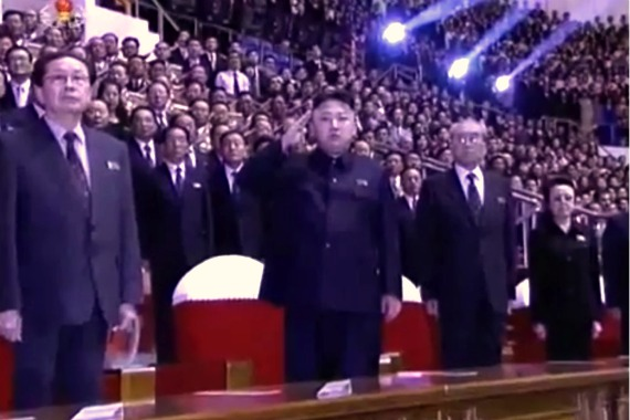 Kim Jong-un saluting the national anthem at a Moranbong Band concert, October 10, 2012. | Image: Youtube.