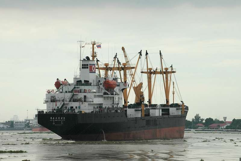 The Cholsanbong (named after a hill in Musan, on the Chinese border), a ship produced in Chongjin in 1985, sets sail. | Image by Graham Moore, on Shipspotting.com
