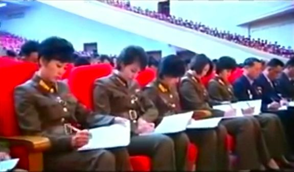 The Moranbong Band taking careful note at a recent Workers' Party conference on the arts. | Image: Korean Central TV