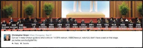 This tweet from @dest_pyongyang shows the rostrum at the September 25 session of North Korea's Supreme People's Assembly. Hwang Pyong-so [황병서] is at center, and Kim Won-hong [김원홍] is far right. | Image: Destination Pyongyang