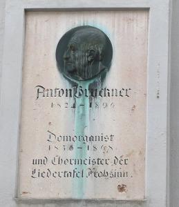 A Momument to Organist-Composer Anton Bruckner, via Wikimedia Commons.