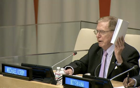 "Screen grab of Justice Kirby speaking at a panel discussion on ""The Human Rights Situation in North Korea."" 