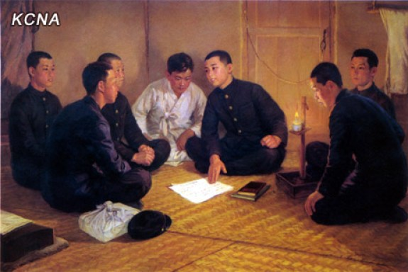 Kim Il-sung as a teenager, lecturing his comrades about proper revolutionary etiquette. | Image: KCNA