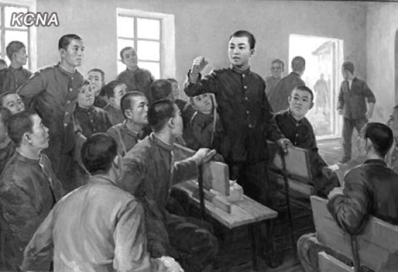 A young Kim Il-sung, lecturing his comrades. | Image: KCNA