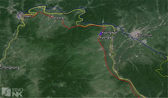 Red is the Namyang-Rajin railroad; blue is the Makhalino (Russia)-Hunchun-Tumen Railroad | Image: Théo Clément/Sino-NK