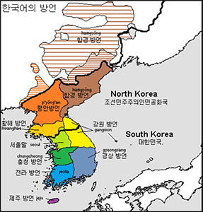 Geographic distribution of Korean speakers on the peninsula and in China. | Image: Zorion/Wikicommons