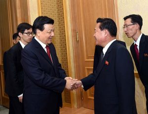 Liu Yunshan, left, with Choe Ryong-hae on October 9, 2015, in Pyongyang. Image via PRC Embassy in Pyongyang.