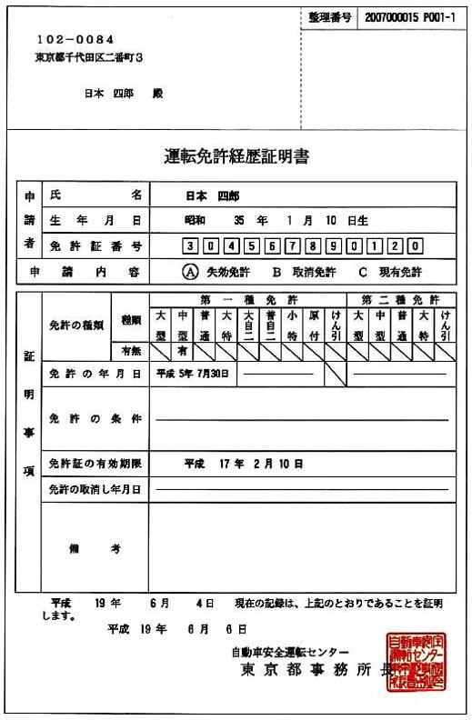 運転免許経歴証明書の例