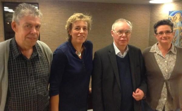fractievoorzitters: Sp.a Guy Jonville, Open Vld Kathleen D'Herde, PF Jean Cornand en Groen Jenny Sleeuwaegen