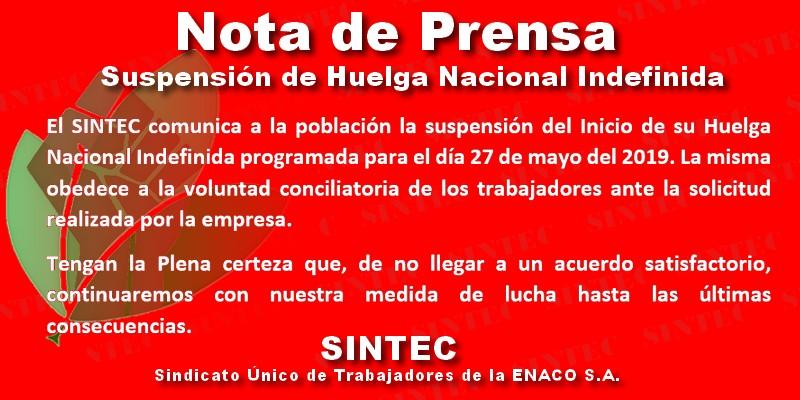 Suspensión de Huelga de Trabajadores de ENACO del día 27 mayo 2019
