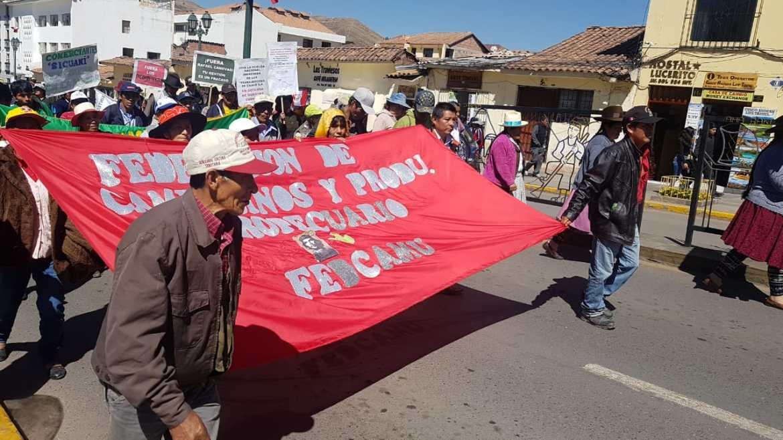 Productores de hoja de coca, comerciantes y trabajadores de ENACO marchan juntos por la defensa de ENACO