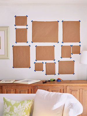 Tape templates prior to hanging