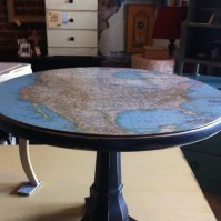 Decoupage the top of a painted table