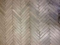 Cast concrete herringbone floor