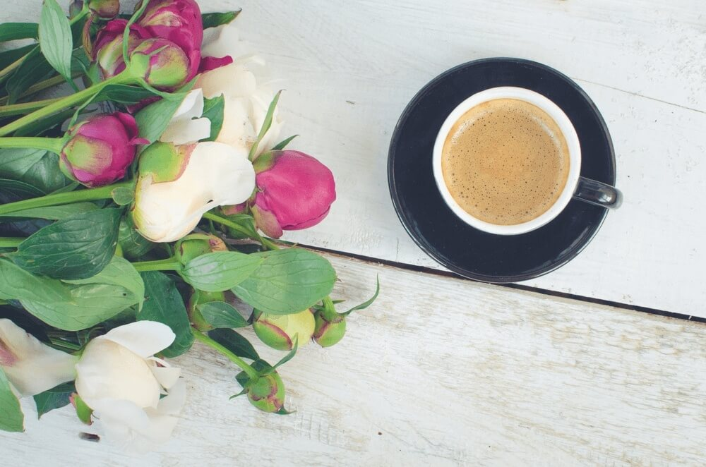 Good morning images of Coffee and flowers