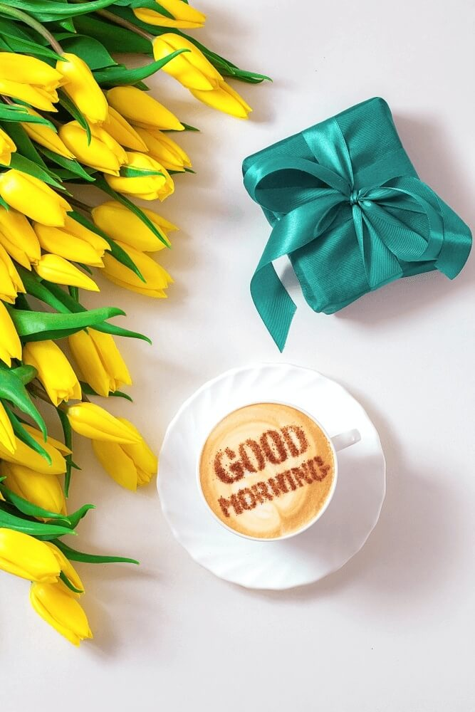white cup with an inscription good morning