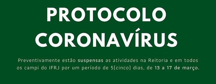 Nota oficial do IFRJ – Protocolo Coronavírus